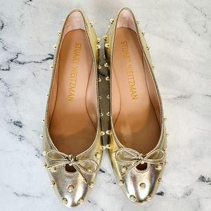 Stuart Weitzman Gabby Pearl Gold Ballet Flats